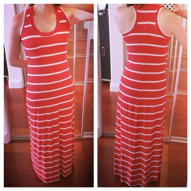Red Maxi Dress by Max & Mia Striped I I Long Stripes And White Racerback Spandex Striped Maxi Long Maxi Striped And Cream Long Maxi Long