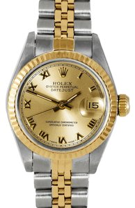Rolex Rolex Lady Datejust Stainless Steel and Yellow Gold Champagne Roman Fluted Watch