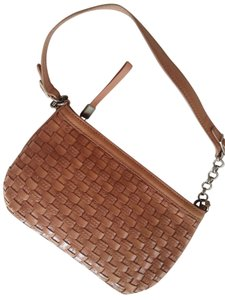 Elliott Lucca Patchwork Quilted Leather Sand Woven Shoulder Bag