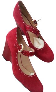 Franco Sarto Leather Mary Jane Dorothy Red Wedges