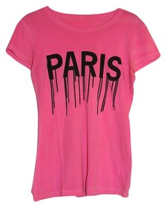 Alex & Chloe Paris Logo Graphic Pink T Shirt Hot Pink