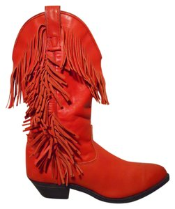 Capezio Vintage Fringed Leather red Boots
