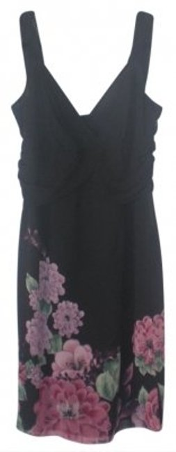 Preload https://item5.tradesy.com/images/bandolino-black-with-pink-flowers-chiffon-sleeveless-cross-above-knee-night-out-dress-size-14-l-9424-0-0.jpg?width=400&height=650