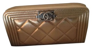 Chanel CHANEL BOY COMPACT ZIP AROUND WALLET - NEW GOLD