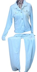 Max Studio MAX STUDIO 2-PIECE JEAN STYLE BABY-BLUE TERRYCLOTH PANTSET SIZE L