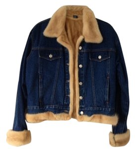 Jean Fur Lined Blue / light brown Mink Womens Jean Jacket