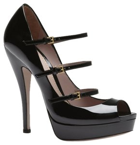 Gucci Lisbeth Triple Strap Heels Sky Heels Designer Women Black Pumps
