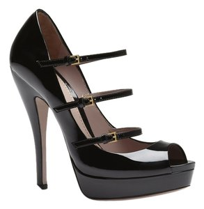 Gucci Triple Strap Patent Black Pumps
