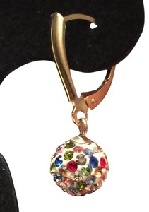 Bought at Dillards New, never worn, 10 kt yellow gold lever back earrings, SS ball with multi-color crystals