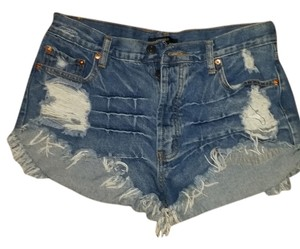 Forever 21 Frayed Sexy Mini/Short Shorts blue jeans