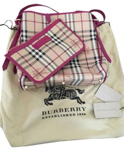 a0c0c11a63f Burberry Italy Canvas Wallet Tote in bright rhubarb pink