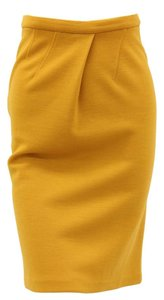 Chris Benz Pencil Pleat Vent Silk Blend Skirt Mustard Yellow