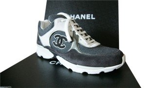 Chanel Leather Fashion Sneakers Trainers Sport Suede Canvas Grey Athletic