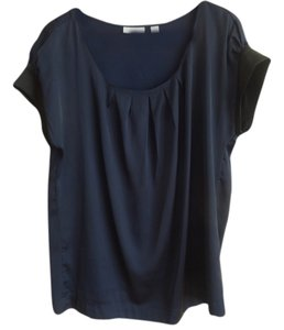 New York & Company Top Navy Blue silk blouse