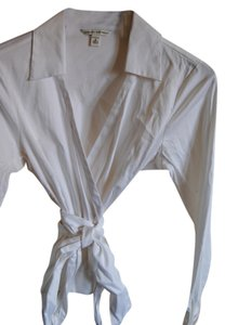 Banana Republic Dress Shirt Wrap Top White