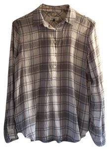 Ann Taylor LOFT Plaid Longsleeve Top Grey
