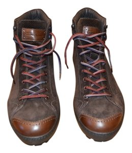 Santoni Santoni Brown Leather Mens Hiking Boots Boots