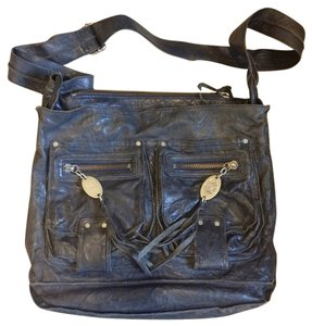 Juicy Couture Leather Lambskin Distressed Navy Blue Messenger Bag