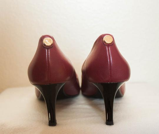 MONET Leather Gold Button Leather burgundy Pumps