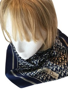 Dior Vintage Christian Dior 100% Silk Navy Blue Square Scarf