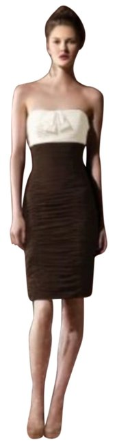 Dessy Ivory/Brown 8107 Short Night Out Dress Size 10 (M) Dessy Ivory/Brown 8107 Short Night Out Dress Size 10 (M) Image 1