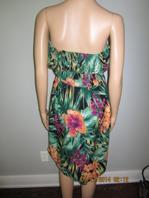 Candie's short dress Black with Orange and Purple Floral Patterns Bright Fun on Tradesy
