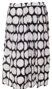 Piazza Sempione Polka Dot Print Pattern Pleated Skirt Black, Brown, White