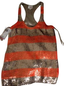 Parker Sequins Summer Sporty Top Orange & Brownish/gray Stripes