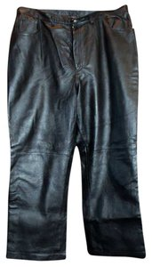 Newport News Leather Boot Cut Pants Black