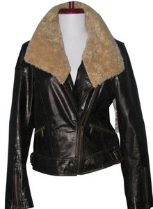 Laundry by Shelli Segal Aviator Bomber dark chocolate brown Leather Jacket