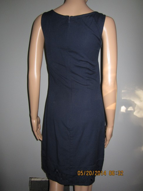 CDC Caren Desiree Company short dress Navy Blue Summery Linen Look Embroidered on Tradesy