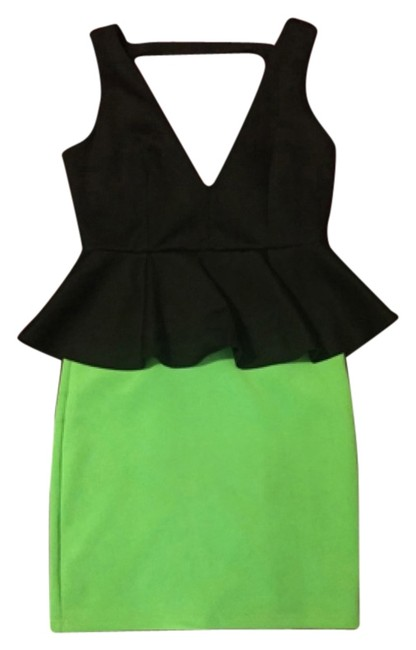 Item - Black / Lime Green Above Knee Cocktail Dress Size OS (one size)