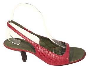 Gucci Red Embossed Lizard Leather Pumps