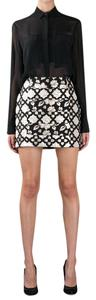 MSGM Brocade Floral Geometric Metallic Printed Mini Skirt Gold, Black