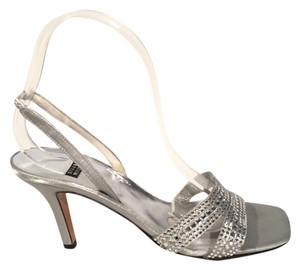 Stuart Weitzman Crystal Beaded Silver Sandals