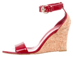 Gucci Santander Patent Leather Heels Red Wedges