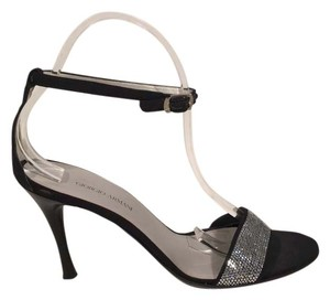 Giorgio Armani Ankle Black Satin & Swarovsi Crystal Sandals