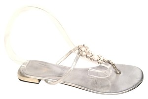Giorgio Armani Frosted Crystal T Strap Flip Flop Silver Sandals