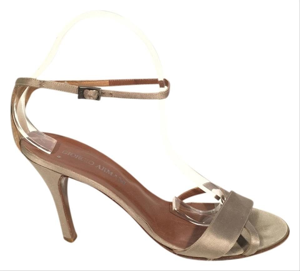 Giorgio Armani Champagne Beige Satin Criss Cross Strappy Ankle Strap Heels Sandals Size Eu 39 5 Approx Us 9 5 Regular M B 76 Off Retail