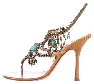 Jimmy Choo Embellished Jewels Turquoise Tan, turquoise, bronze Sandals