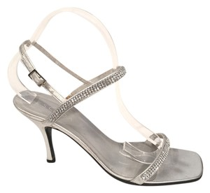 Escada Metallic Strappy Heels Silver Leather & Swarovski Crystal Sandals