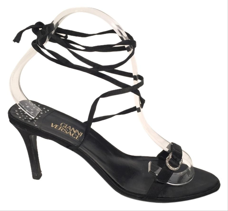 a021d32f4e4 Versace Black Satin & Crystal Gianni Lace Up Espadrille Ankle Heels.  Sandals Size EU 39 (Approx. US 9) Regular (M, B) 68% off retail