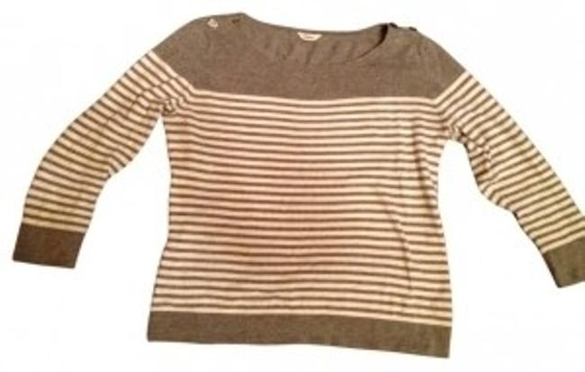 Item - 3/4 Sleeve Striped Gray and White Sweater