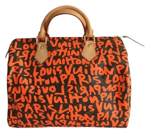 Louis Vuitton Monogram Stephen Sprouse Graffiti Speedy 30 Satchel in Orange Monogram