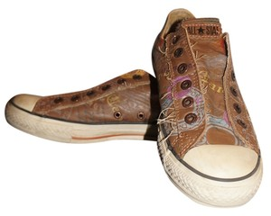 Converse Embellished Distressed Leather Slip On Brown Leather Postage Calligraphy Elastic Flat Brown Multi-Color Athletic