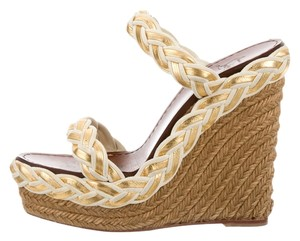 Christian Louboutin Gold/Tan Wedges