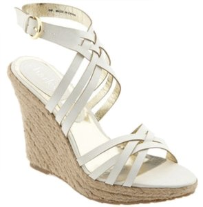Charles by Charles David Metallic Woven Sandal Heel Strappy Gold Wedges