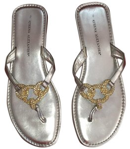 Athena Alexander Metallic Crystal Leather Silver/gold/crystal Sandals