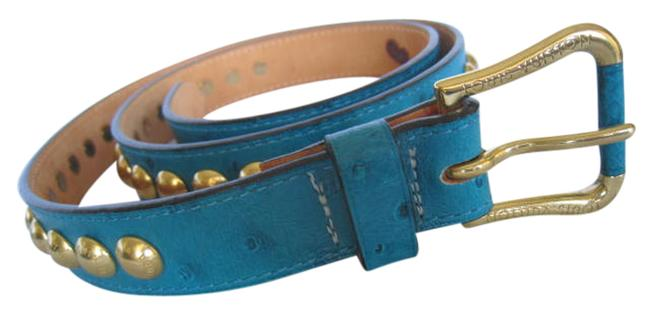 Louis Vuitton Blue Studded Ostrich Exotic Rare Limited Shiny Great with Jeans Skirt Belt Louis Vuitton Blue Studded Ostrich Exotic Rare Limited Shiny Great with Jeans Skirt Belt Image 1