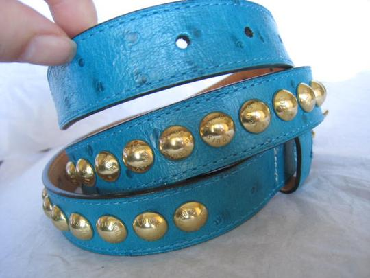 Louis Vuitton Rare Limited Exotic Ostrich Blue Shiny Studded Great with Jeans Skirt